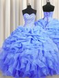 Perfect Blue Lace Up Sweetheart Beading and Ruffles and Pick Ups Sweet 16 Dresses Organza Sleeveless