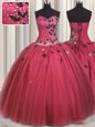 Graceful Coral Red Ball Gowns Sweetheart Sleeveless Tulle Floor Length Lace Up Beading and Appliques 15th Birthday Dress