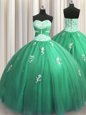 Turquoise Sleeveless Floor Length Beading and Appliques Lace Up Quince Ball Gowns
