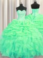 Green Organza Lace Up Quince Ball Gowns Sleeveless Floor Length Beading and Ruffles and Pick Ups