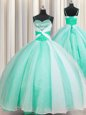 Apple Green Ball Gowns Organza Spaghetti Straps Sleeveless Beading and Ruching Floor Length Lace Up 15th Birthday Dress