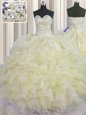 Low Price Floor Length Ball Gowns Sleeveless Light Yellow Sweet 16 Dresses Lace Up