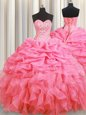 Halter Top Rose Pink Sleeveless Beading and Ruffles and Pick Ups Floor Length 15 Quinceanera Dress