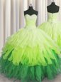 Zipper Up Ball Gowns Organza Sweetheart Sleeveless Beading and Appliques Floor Length Zipper 15th Birthday Dress