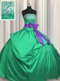 Strapless Sleeveless Satin Vestidos de Quinceanera Beading and Pick Ups and Bowknot Lace Up