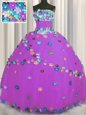 Pretty Floor Length Purple Sweet 16 Dress Tulle Sleeveless Hand Made Flower