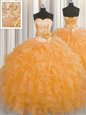 Handcrafted Flower Ball Gowns 15 Quinceanera Dress Orange Sweetheart Organza Sleeveless Floor Length Lace Up