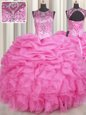 Chic Scoop See Through Floor Length Lace Up Quince Ball Gowns Rose Pink and In for Military Ball and Sweet 16 and Quinceanera with Beading and Ruffles and Pick Ups
