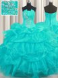 Sleeveless Organza Floor Length Lace Up Vestidos de Quinceanera in Aqua Blue for with Beading and Ruffled Layers and Pick Ups