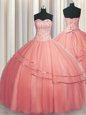 Custom Design Visible Boning Puffy Skirt Sleeveless Beading Lace Up Quinceanera Dress