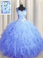 Graceful See Through Zipper Up Sleeveless Tulle Floor Length Zipper Quinceanera Dress in Light Blue for with Beading and Ruffles