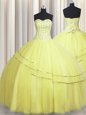 Top Selling Visible Boning Really Puffy Light Yellow Sleeveless Floor Length Beading Lace Up Sweet 16 Dresses