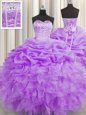 Noble Visible Boning Floor Length Lace Up Quinceanera Gowns Lilac and In for Military Ball and Sweet 16 and Quinceanera with Beading and Ruffles and Pick Ups