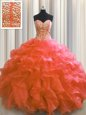 Visible Boning Sweetheart Sleeveless Organza and Sequined Sweet 16 Quinceanera Dress Beading and Ruffles and Sequins Lace Up
