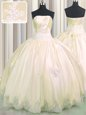 Sleeveless Taffeta Floor Length Lace Up Quinceanera Dresses in Champagne for with Beading and Appliques