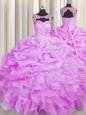 Bling-bling Floor Length Ball Gowns Sleeveless Pink Quinceanera Gowns Lace Up