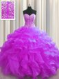 Glittering Visible Boning Fuchsia Sleeveless Beading and Ruffles Floor Length Quince Ball Gowns