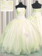 High Class Light Yellow Strapless Lace Up Beading and Appliques Sweet 16 Dress Sleeveless