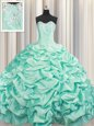 Hot Sale Brush Train Apple Green Sweetheart Lace Up Beading and Pick Ups Vestidos de Quinceanera Sleeveless