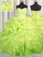 Sleeveless Lace Up Floor Length Beading and Ruffles and Ruching and Pick Ups Quinceanera Dresses