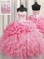 Visible Boning Rose Pink Sleeveless Beading and Ruffles Floor Length Quinceanera Gown
