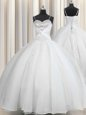 Fantastic Spaghetti Straps Floor Length Ball Gowns Sleeveless White Ball Gown Prom Dress Lace Up