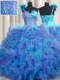 Captivating Handcrafted Flower Ball Gowns Sweet 16 Dress Multi-color One Shoulder Tulle Sleeveless Floor Length Lace Up