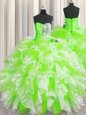 Beading and Ruffles 15th Birthday Dress Multi-color Lace Up Sleeveless Floor Length