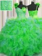 Lovely Handcrafted Flower One Shoulder Sleeveless Tulle Quinceanera Gowns Beading and Ruffles and Hand Made Flower Lace Up