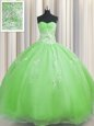 Zipper Up Floor Length 15 Quinceanera Dress Organza Sleeveless Beading and Appliques