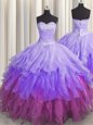 Discount Multi-color Quinceanera Gown Military Ball and Sweet 16 and Quinceanera and For with Beading and Ruffles and Ruffled Layers and Sequins Sweetheart Sleeveless Lace Up