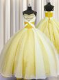 Yellow Organza Lace Up Spaghetti Straps Sleeveless Floor Length Vestidos de Quinceanera Beading and Ruching