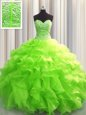 Green Sleeveless Floor Length Beading and Ruffles and Pick Ups Lace Up Sweet 16 Dresses