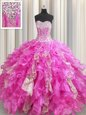 Sequins Visible Boning Ball Gowns Sweet 16 Dress Fuchsia Sweetheart Organza and Sequined Sleeveless Floor Length Lace Up