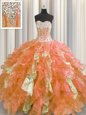 Sequins Visible Boning Floor Length Multi-color Quinceanera Gown Sweetheart Sleeveless Lace Up
