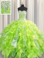 Sequins Visible Boning Sweetheart Sleeveless Lace Up Vestidos de Quinceanera Yellow Green Organza and Sequined