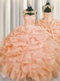 Ideal Scoop Organza Sleeveless Floor Length Quinceanera Gowns and Beading and Pick Ups