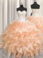 Best Visible Boning Zipper Up Peach Organza Zipper Sweetheart Sleeveless Floor Length Ball Gown Prom Dress Beading and Ruffles