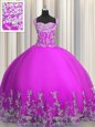 Purple Lace Up Quince Ball Gowns Beading and Appliques Sleeveless Floor Length