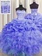 Luxury Pick Ups Visible Boning Sweetheart Sleeveless Lace Up 15th Birthday Dress Purple Organza
