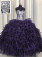 Nice Visible Boning Sleeveless Lace Up Floor Length Ruffles and Sequins Quince Ball Gowns