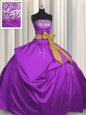Sleeveless Satin Floor Length Lace Up Sweet 16 Dress in Purple for with Beading and Bowknot
