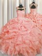 Scoop Sleeveless Organza Quinceanera Gown Beading and Pick Ups Lace Up