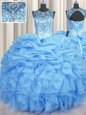 See Through Scoop Sleeveless Lace Up 15 Quinceanera Dress Light Blue Organza