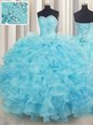 Fancy Sleeveless Beading and Ruffles Lace Up Quinceanera Gown