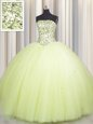 Admirable Sequins Big Puffy Floor Length Ball Gowns Sleeveless Light Yellow Ball Gown Prom Dress Lace Up