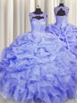 Charming Scoop Blue Ball Gowns Beading and Pick Ups Quinceanera Gowns Lace Up Organza Sleeveless Floor Length