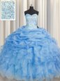 Simple Baby Blue Ball Gowns Beading and Ruffles Ball Gown Prom Dress Lace Up Organza Sleeveless Floor Length