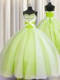 Luxury Spaghetti Straps Sleeveless Floor Length Beading and Ruching Lace Up Sweet 16 Quinceanera Dress with Yellow Green