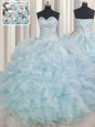 Super Floor Length Light Blue Quinceanera Gown Sweetheart Sleeveless Lace Up